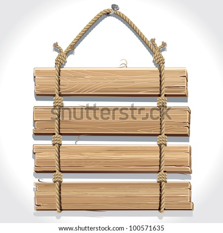 Wooden sign with rope hanging on a nail. - stock vector