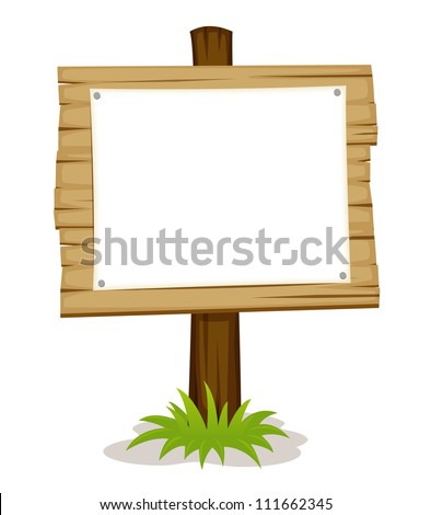 Wooden sign with white blank - stock vector