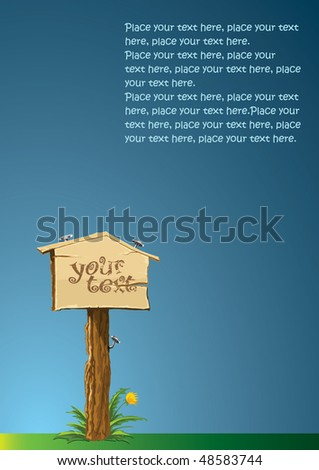 wooden signboard! - stock vector