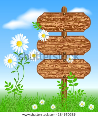 Wooden signboard on the meadow with flowers - stock vector