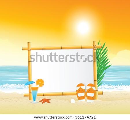 Wooden signboard on tropical beach - stock vector