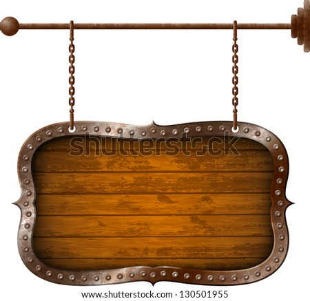 Wooden signboard with metal rim on the chains - stock vector