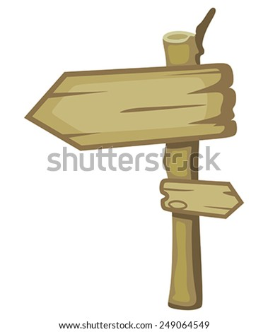 Wooden signpost on a white background - stock vector