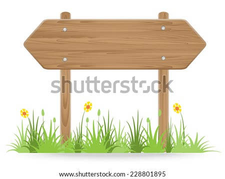 Wooden signpost on grass with flower isolated on white. vector illustration - stock vector