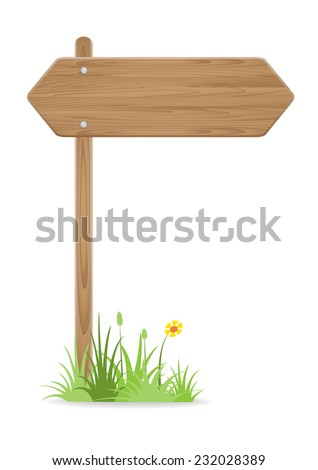 Wooden signpost on grass with flower on white background. vector illustration - stock vector