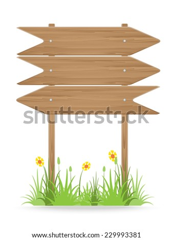 Wooden signpost on grass with flowers isolated on white. vector illustration - stock vector