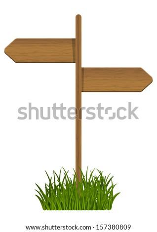 Wooden signpost on green grass - stock vector