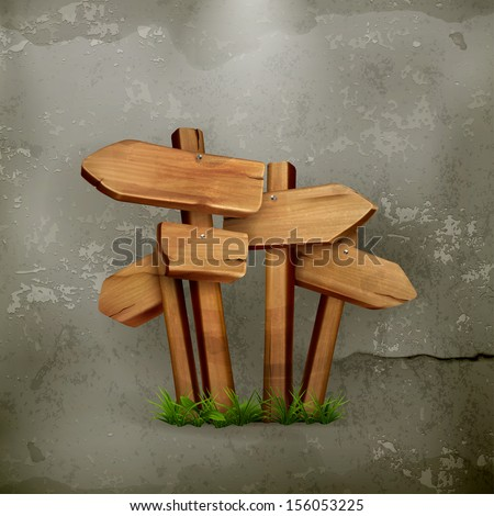 Wooden signs old style vector - stock vector