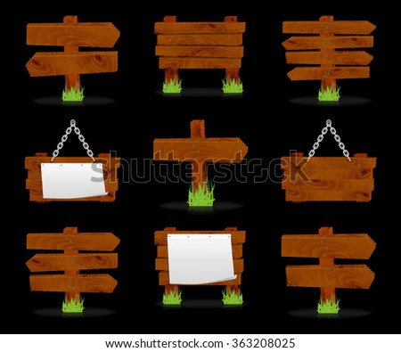 Wooden signs set on black, vector, 10eps. - stock vector