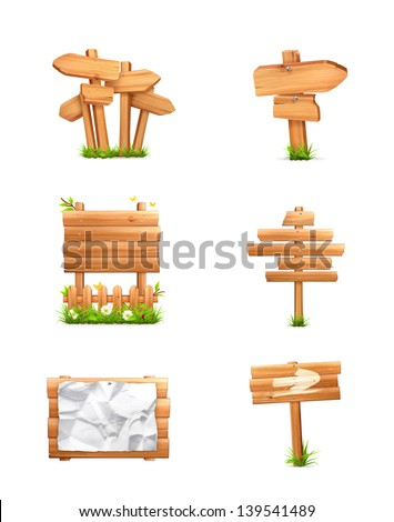 Wooden signs set, vector - stock vector