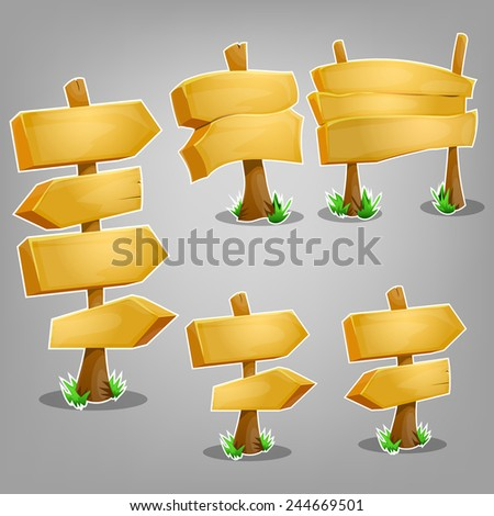 Wooden signs set. Vector illustration. - stock vector