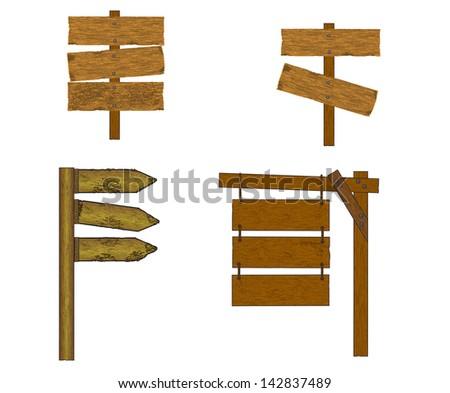 Wooden signs, vector icon set - stock vector