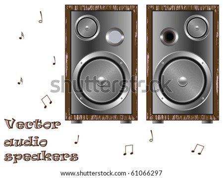 wooden speakers against white background, abstract vector art illustration