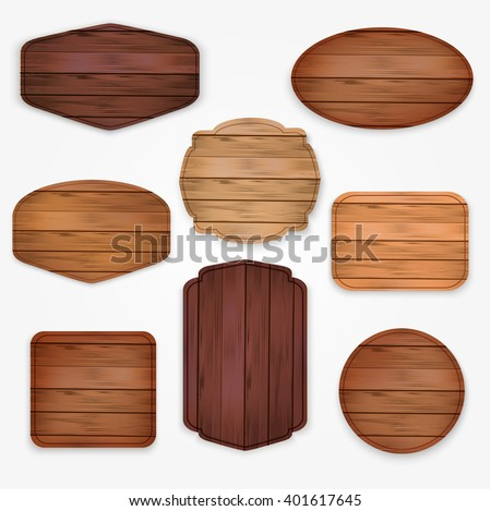 wooden  stickers label collection. Set of various shapes wooden sign boards  for sale,price and discount stickers, banners, badges. Vector illustration.