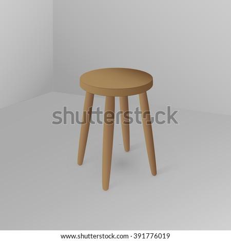 Wooden stool. Illustration. Vector.