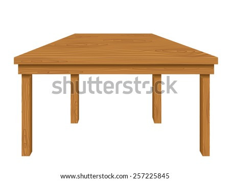 Wooden table isolated on white background. Vector illustration - stock vector