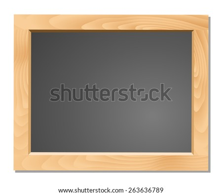 Wooden table on black chalkboard - stock vector