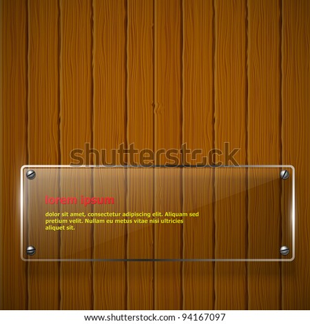 Wooden texture with glass framework. Vector illustration - stock vector