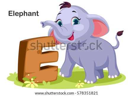 Wooden Textured Bold Font Alphabet E For Elephant