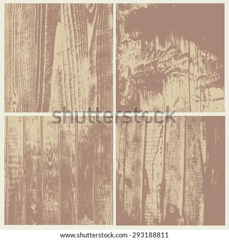 wooden textures set. vector illustration. - stock vector