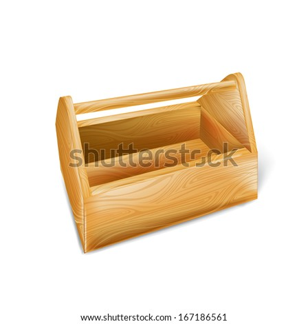 wooden tool box isolated on white background - stock vector