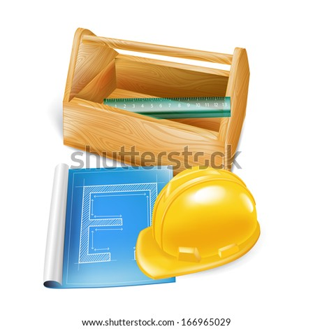 wooden tool box with hard hat, construction sketch and ruler isolated on white  - stock vector