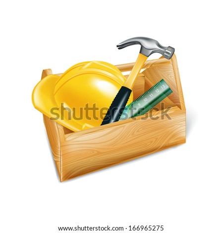 wooden tool box with hard hat, hammer and ruler isolated on white  - stock vector