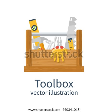 Wooden toolbox isolated. Vector illustration of flat design style. Set tools handyman in box. Can be used as template, banner advertising renovations. Toolbox for repair and maintenance. - stock vector