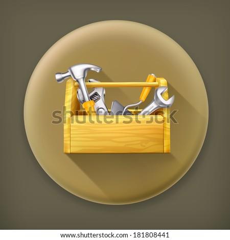 Wooden toolbox, long shadow vector icon - stock vector