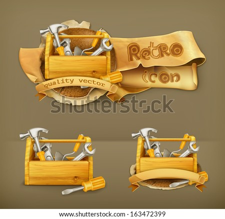Wooden toolbox vector icon - stock vector
