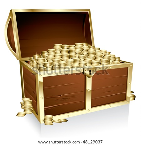 Wooden treasure chest loaded with golden coins - stock vector