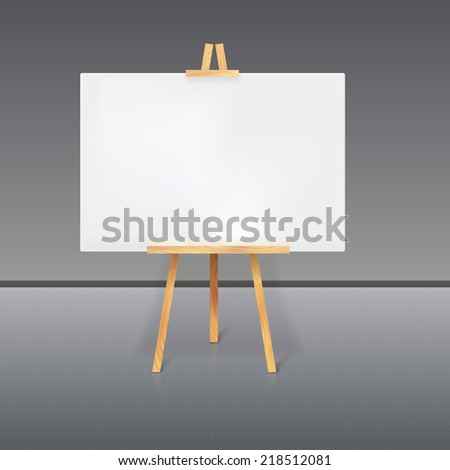 Wooden tripod with a white sheet of paper standing in the room - stock vector