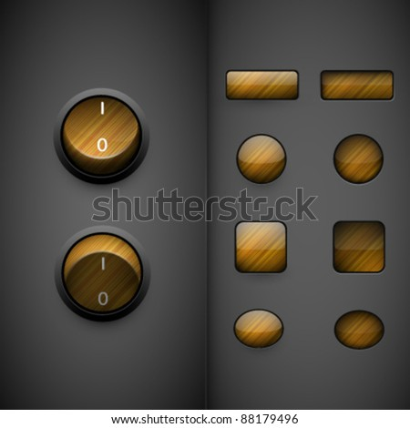 wooden vector buttons - stock vector
