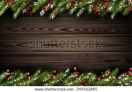 Wooden winter background with fir branches. Vector illustration. - stock vector