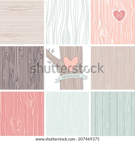Woodgrain, wooden texture background and a carved heart in a tree, perfect as wedding backgrounds and valentines day cards - stock vector