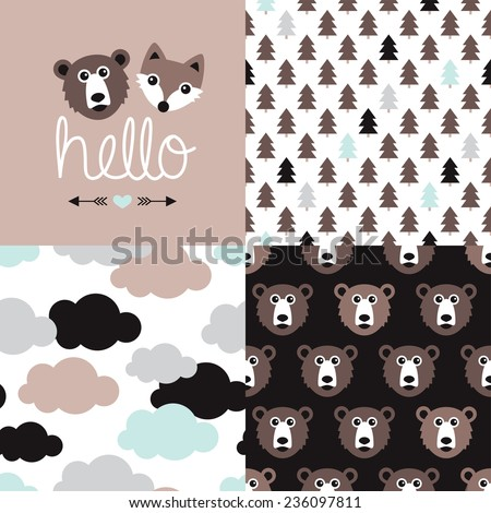 Woodland animal bear and fox friends postcard and seamless background pattern clouds and forest in vector - stock vector
