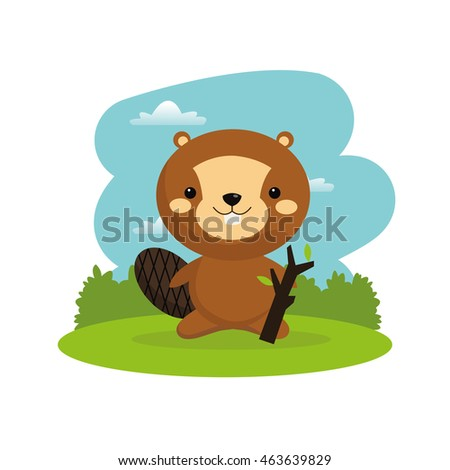 Woodland animal concept represented by cute beaver cartoon icon. Colorfull and flat illustration.