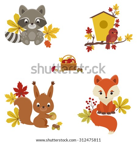 Woodland animals in autumn time. Raccoon, bird, squirrel and fox with fall leaves, mushrooms and berries.  - stock vector