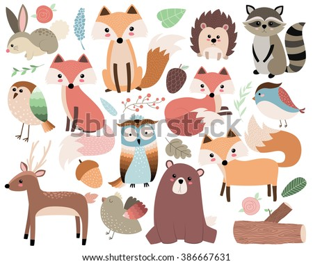 Woodland Animals Isolated Vector Set - stock vector