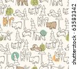 Woodland Creatures Pattern - stock photo