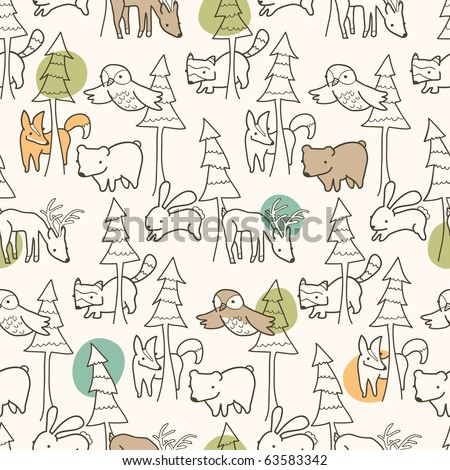 Woodland Creatures Pattern - stock vector