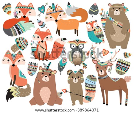 Woodland Tribal Forest Animals Vol.2 Isolated Vector Set - stock vector