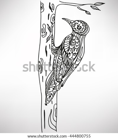 Woodpecker. Hand-drawn with ethnic pattern. Coloring page - isolated on a white background. Zendoodle patterns. Vector illustration.