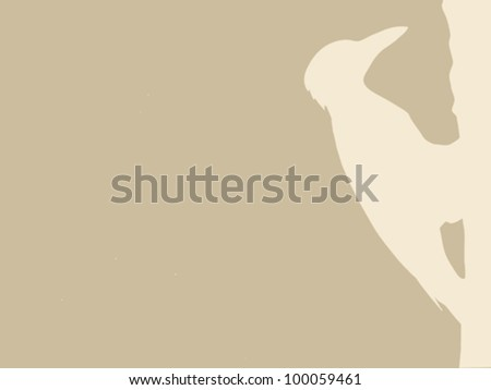 woodpecker silhouette on brown background, vector illustration - stock vector