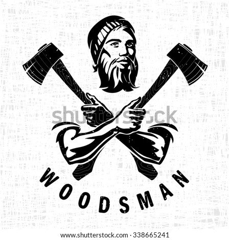 Woodsman is holding the hatchets - stock vector