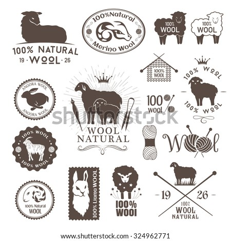Wool labels and stickers. Logo set of sheep, alpaca, rabbit and goat wool. Signs and emblems for 100% natural wool products. - stock vector
