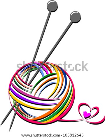 Woollen thread and knitting needle. Needlework accessories isolated on white background. Vector illustration - stock vector