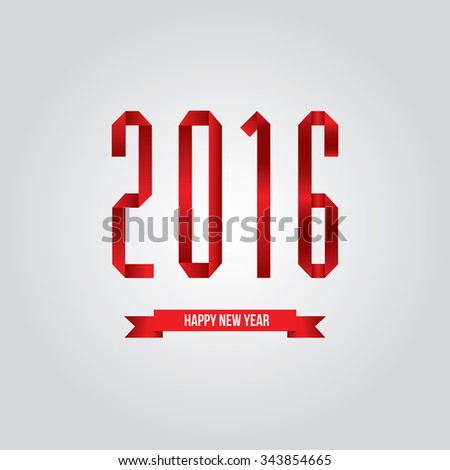 Word 2016 and Happy New Year on white background vector. - stock vector