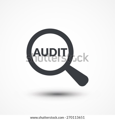 """Word """"audit"""" with a magnifying glass - stock vector"""