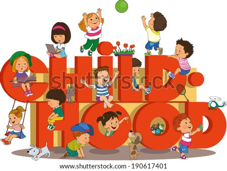 Word childhood with happy kids on the beach on the background of the rainbow. - stock vector